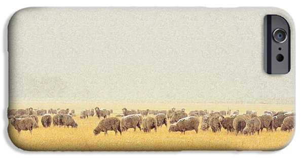 Snowy Day iPhone Cases - Sheep in Snow iPhone Case by Kae Cheatham