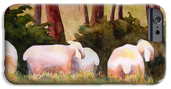 Sheep Paintings iPhone Cases - Sheep in the Meadow iPhone Case by Blenda Studio