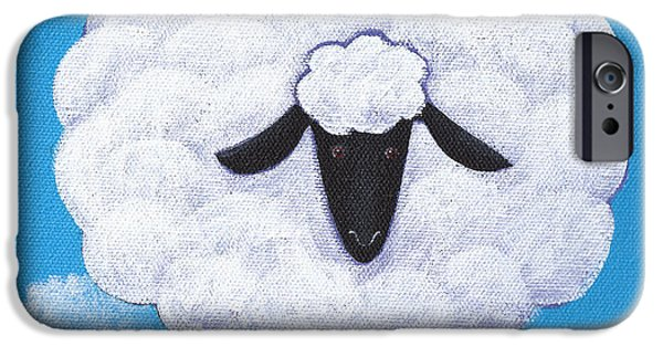 Rural iPhone Cases - Sheep Nursery Art iPhone Case by Christy Beckwith