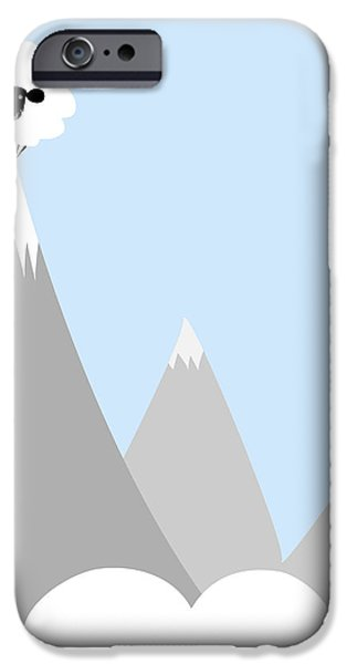 Sheep On Top of a Mountain iPhone Case by Christy Beckwith