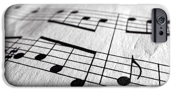 Note iPhone Cases - Sheet Music Closeup iPhone Case by Edward Fielding