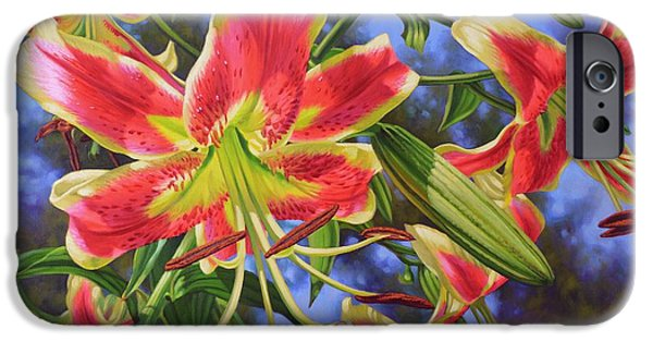 Chicago Paintings iPhone Cases - Sheherazade Lilies 1 iPhone Case by Fiona Craig