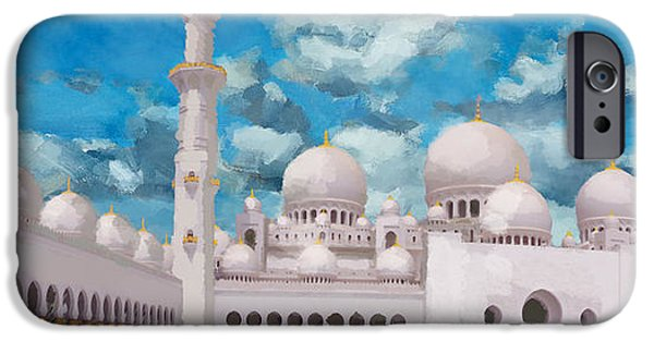 Bounties Of Allah. God Paintings iPhone Cases - Sheikh Zayed Mosque iPhone Case by Catf