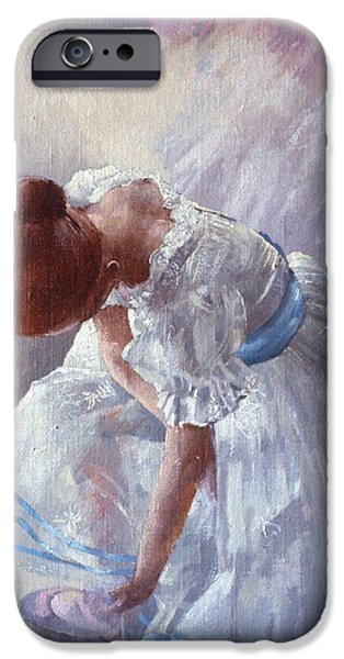 Ballet Dancers iPhone Cases - Sheila Against A Window Oil On Canvas iPhone Case by Peter Miller