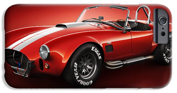 Old Cars iPhone Cases - Shelby Cobra 427 - Bloodshot iPhone Case by Marc Orphanos