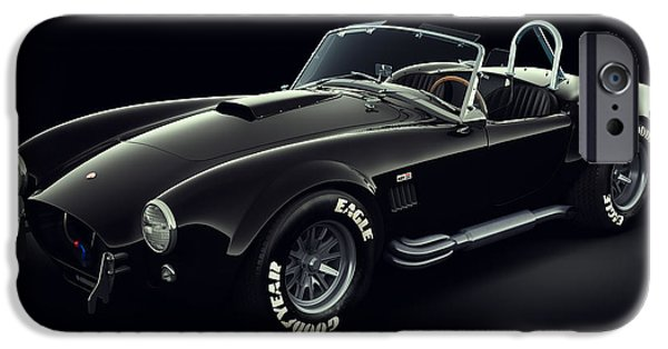 Old Cars iPhone Cases - Shelby Cobra 427 - Ghost iPhone Case by Marc Orphanos