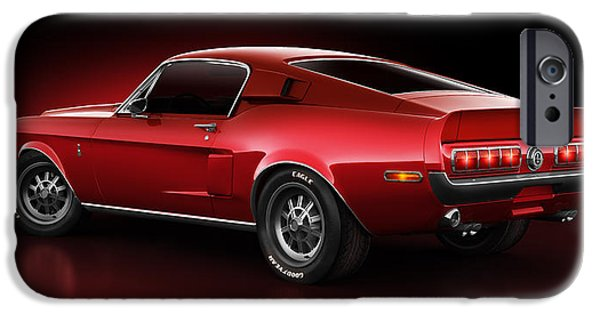 Old Cars iPhone Cases - Shelby GT500 - Redline iPhone Case by Marc Orphanos