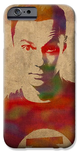 Bang iPhone Cases - Sheldon Cooper Big Bang Theory Jim Parsons Watercolor Portrait on Worn Distressed Canvas iPhone Case by Design Turnpike