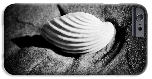 Monochrome Pyrography iPhone Cases - Shell on Sand black and white photo iPhone Case by Raimond Klavins