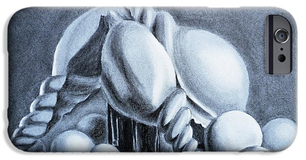 Still Life Drawings iPhone Cases - Shells Shells And Balls Still Life iPhone Case by Irina Sztukowski