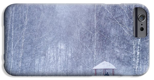 Park Scene iPhone Cases - Shelter In The Storm - Featured 3 iPhone Case by Alexander Senin