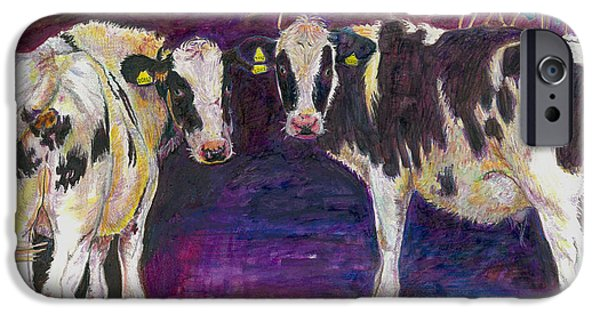 Moo Moo iPhone Cases - Sheltering cows iPhone Case by Helen White
