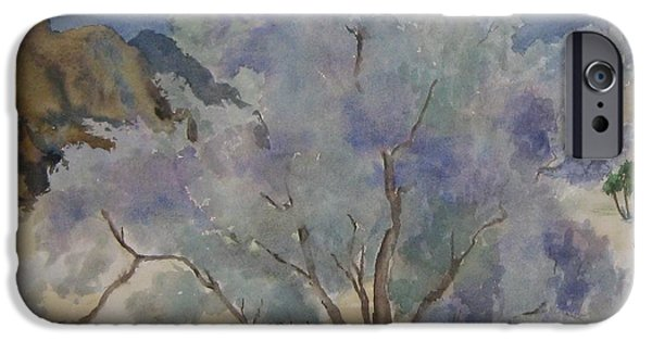 California Quail iPhone Cases - Sheltering Tree iPhone Case by Maria Hunt