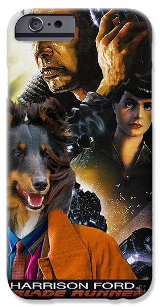 Sheltie iPhone Cases - Sheltie - Shetland Sheepdog Art Canvas Print - Blade Runner Movie Poster iPhone Case by Sandra Sij