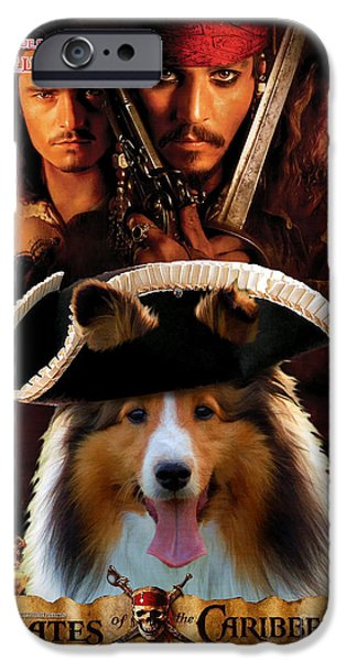 Sheltie iPhone Cases - Sheltie - Shetland Sheepdog Art Canvas Print - Pirates of the Caribbean The Curse of the Black Pearl iPhone Case by Sandra Sij