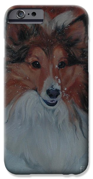 Dogs In Snow. Paintings iPhone Cases - Sheltie in Snow iPhone Case by Pet Whimsy  Portraits