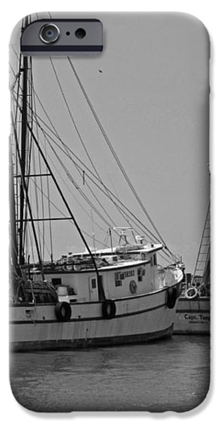 Shem Creek Shrimpers - Black and White iPhone Case by Suzanne Gaff