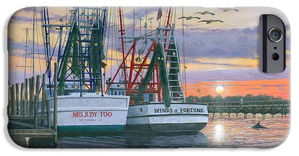 Sectioned iPhone Cases - Shem Creek Shrimpers Charleston  iPhone Case by Richard Harpum