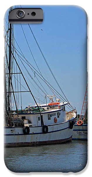 Shem Creek Shrimpers iPhone Case by Suzanne Gaff