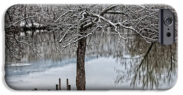 Serenity Scenes iPhone Cases - Shenandoah Winter Serenity iPhone Case by Lara Ellis