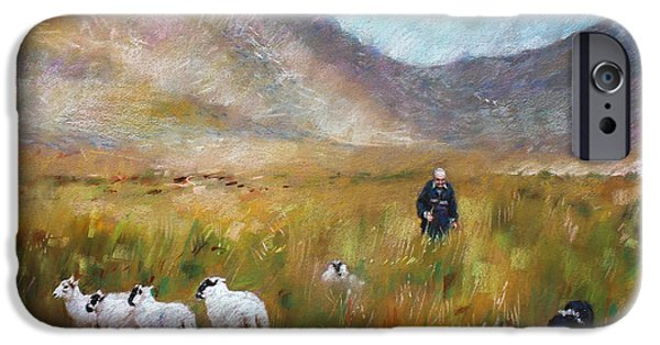 Agricultural Drawings iPhone Cases - Shepherd and Sheep in the Valley  iPhone Case by Viola El
