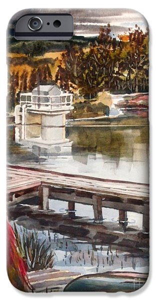 Fish Mixed Media iPhone Cases - Shepherd Mountain Lake in Twilight iPhone Case by Kip DeVore