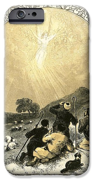 Night Angel Paintings iPhone Cases - Shepherds and Angel iPhone Case by Miles Birkett Foster
