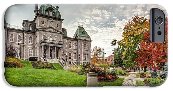 Autumn iPhone Cases - Sherbrooke city Town Hall iPhone Case by Pierre Leclerc Photography
