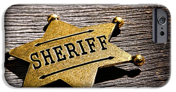Sheriff iPhone Cases - Sheriff Badge iPhone Case by Olivier Le Queinec