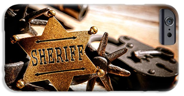 Sheriff iPhone Cases - Sheriff Tools iPhone Case by Olivier Le Queinec