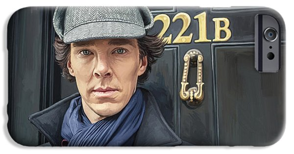 Drama iPhone Cases - Sherlock Holmes Artwork iPhone Case by Sheraz A