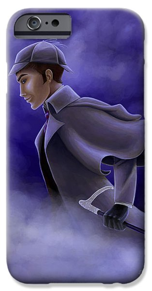 Fog Mist iPhone Cases - Sherlock Holmes Picture Only iPhone Case by Kendra Tharaldsen-Franklin
