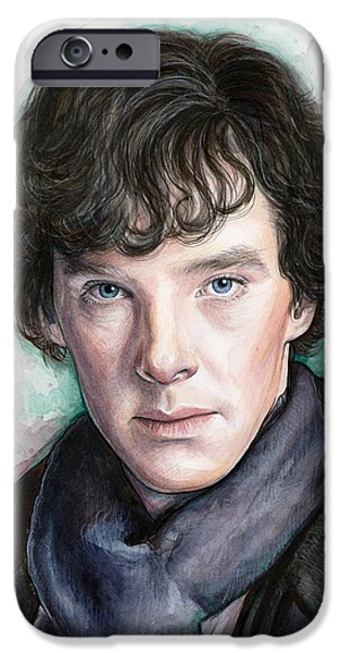 Olechka iPhone Cases - Sherlock Holmes Portrait Benedict Cumberbatch iPhone Case by Olga Shvartsur