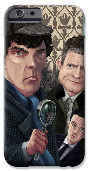 Benedict iPhone Cases - Sherlock Homes Watson and Moriarty at 221B iPhone Case by Martin Davey