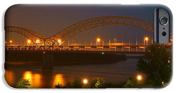 Indiana Scenes iPhone Cases - Sherman Minton Bridge - New Albany iPhone Case by Mike McGlothlen