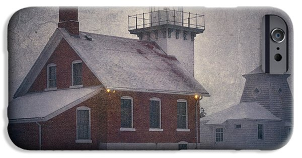Winter Weather iPhone Cases - Sherwood Point Light iPhone Case by Joan Carroll