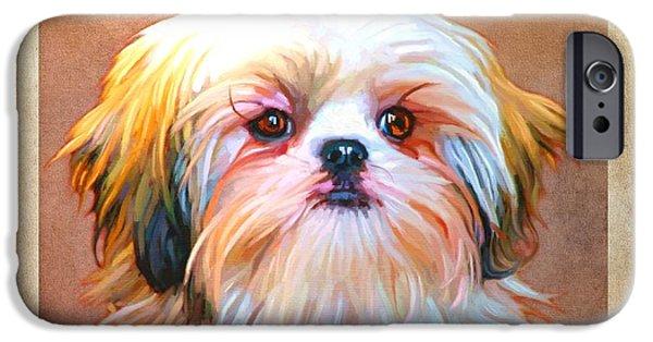 Cute Puppy Pictures Digital Art iPhone Cases - Shih Tzu Art iPhone Case by Iain McDonald
