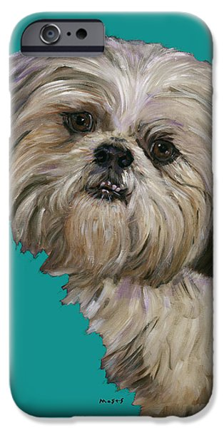 SHIH TZU ON TURQUOISE iPhone Case by Dale Moses