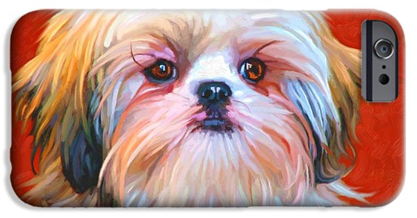Cute Puppy Pictures Digital Art iPhone Cases - Shih Tzu Painting iPhone Case by Iain McDonald