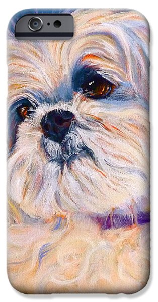 Little Dogs iPhone Cases - Shih Tzu Rescue iPhone Case by Susan A Becker