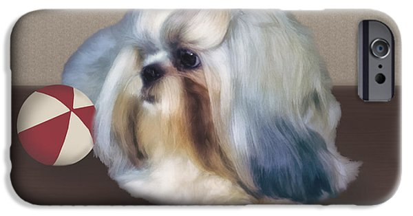 Dog With Ball iPhone Cases - Shih Tzu with Ball iPhone Case by Delores Knowles
