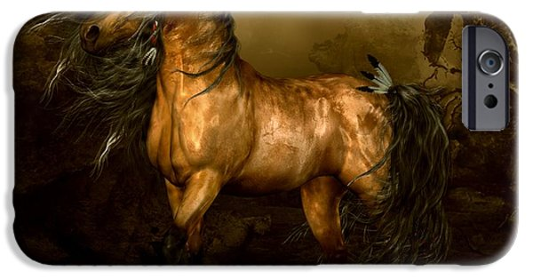Native iPhone Cases - Shikoba Choctaw Horse iPhone Case by Shanina Conway