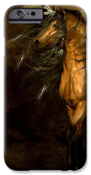 Horse Digital Art iPhone Cases - Shikoba Choctaw Horse iPhone Case by Shanina Conway