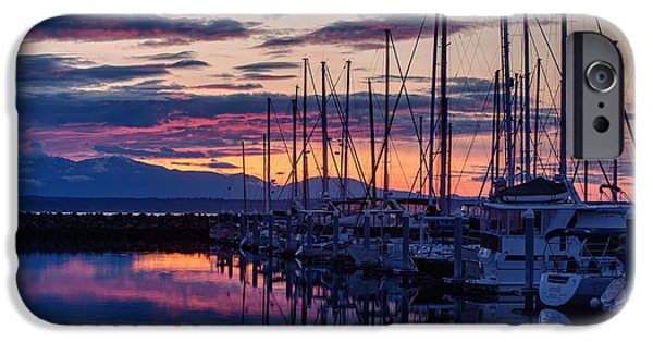 Sailboat Ocean iPhone Cases - Shilshole Olympic Mountains Sunset iPhone Case by Mike Reid