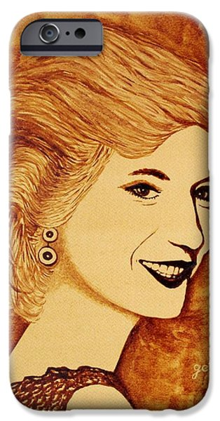 Princess Diana iPhone Cases - Shining Diana Princess coffee painting iPhone Case by Georgeta  Blanaru