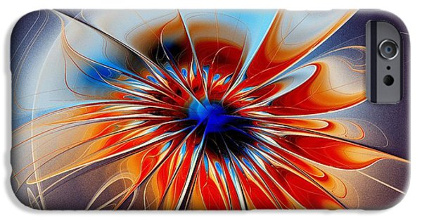 Abstract Digital Mixed Media iPhone Cases - Shining Red Flower iPhone Case by Anastasiya Malakhova
