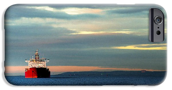 Water Vessels iPhone Cases - Ship - Anchored on the Edge of Light iPhone Case by Gary Heller