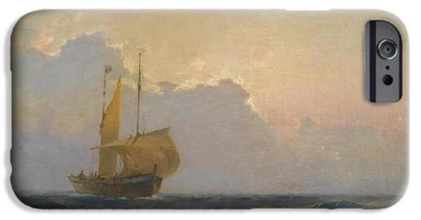 Bales Paintings iPhone Cases - Ship At Dusk iPhone Case by Celestial Images