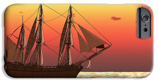 Windjammer iPhone Cases - Ship at Sunset iPhone Case by Corey Ford