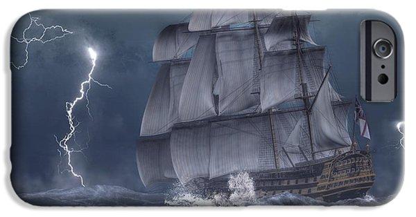 Admiral Digital iPhone Cases - Ship in a Storm iPhone Case by Daniel Eskridge
